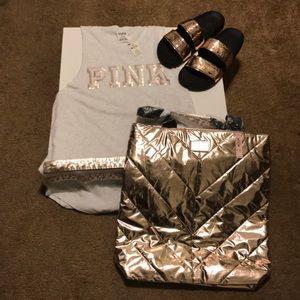 Victoria secret rose gold tote bag